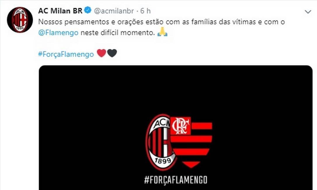 Milan se solidariza com Flamengo após incêndio no Ninho do Urubu. Foto: Reprodução Twitter / Reprodução Twitter