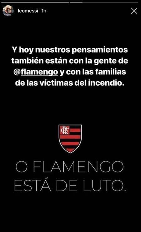 Em publicação no stories do Instagram, Messi se solidariza com o Flamengo com a morte dos jogadores de base rubro-negro Foto: Reprodução de Instagram / Reprodução de Instagram