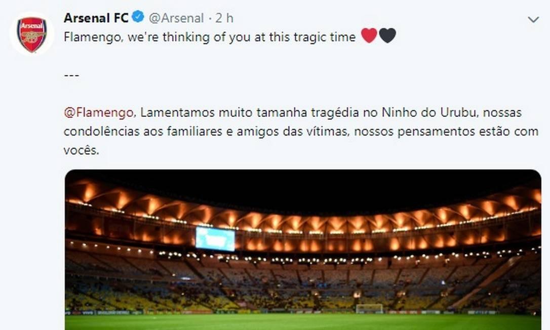 Arsenal se solidariza com Flamengo após o incêndio que matou dez meninos no Ninho do Urubu Foto: Reprodução Twitter / Reprodução Twitter