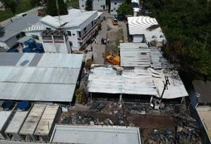 O CT Ninho do Urubu após o incêndio que deixou dez jovens mortos Foto: Agência O Globo