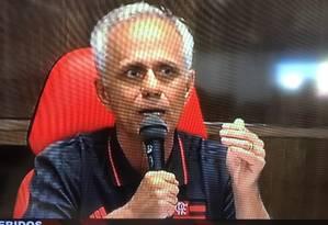 O novo CEO do Flamengo, Reinaldo Belotti, falou sobre o incêndio no Ninho do Urubu Foto: Reprodução de TV