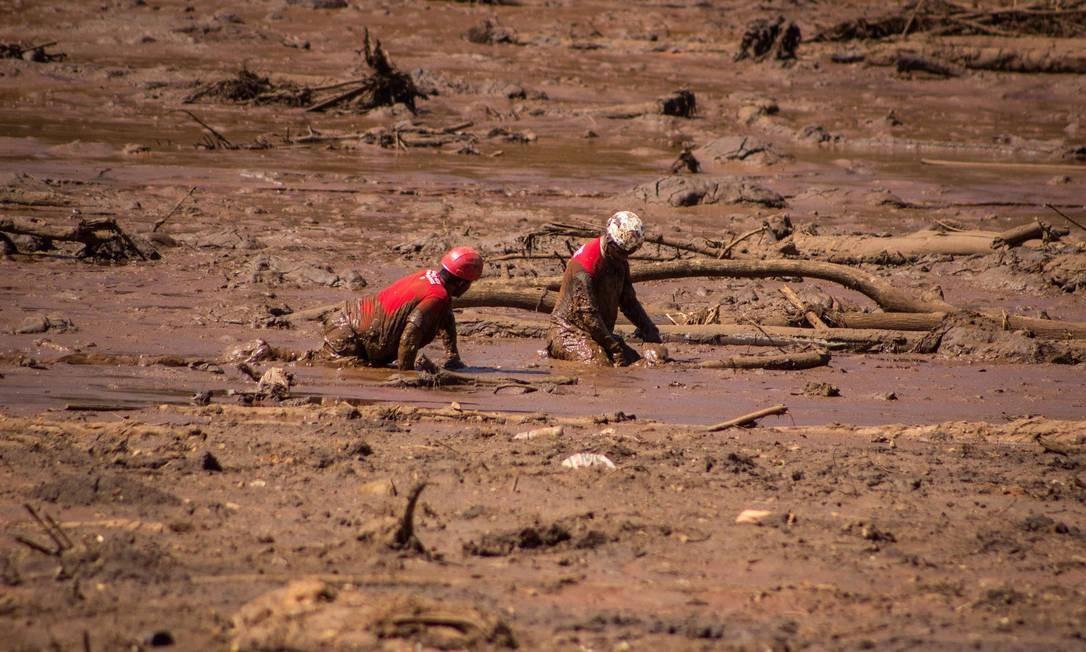 Bombeiros atuam no resgate em Brumadinho Foto: Agência O Globo