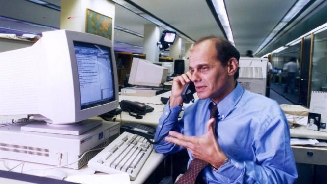 Ricardo Boechat na redação do Globo, em 1995 Foto: Ana Branco / Agência O Globo