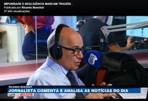 Ricardo Boeacht, durante seu último comentário na Rádio Band News FM Foto: Reprodução/Facebook