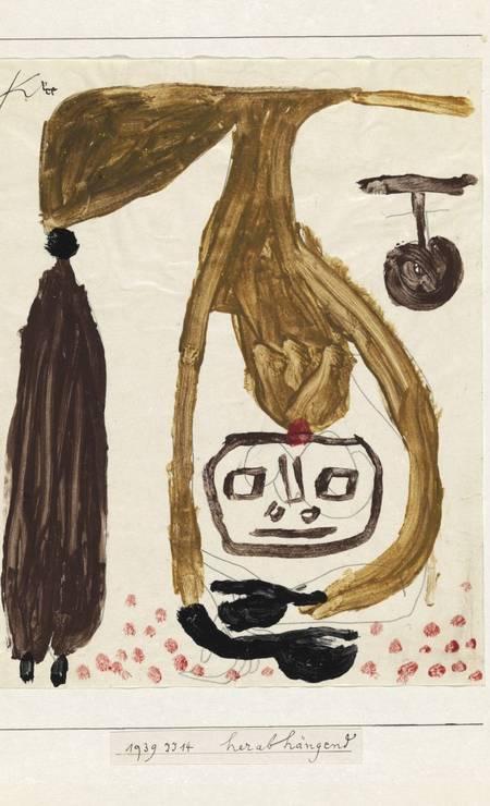 'Pendurado para baixo' (1939), cola colorida e lápis sobre papel Foto: Divulgação