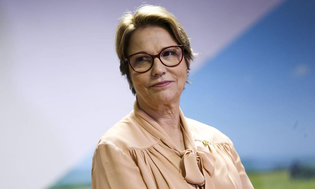 A ministra da Agricultura, Tereza Cristina, durante cerimônia de transmissão de cargo Foto: Marcelo Camargo/Agência Brasil/02-01-2019