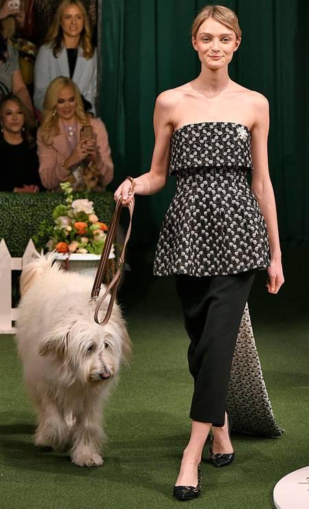 A ideia era que as modelos e seus bichinhos simulassem um concurso de cachorro Foto: Victor VIRGILE / Gamma-Rapho via Getty Images