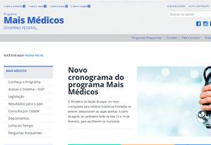 Site do Programa Mais Médicos Foto: Reprodução