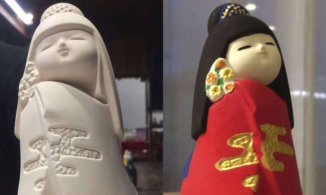 As bonequinhas Hakata, de argila ou porcelana, são um dos símbolos da cidade japonesa de Fukuoka. No Museu Folclórico Hakata Machiya é possível pintar sua própria boneca Foto: Marcelo Balbio / O Globo