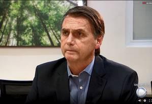 Presidente Jair Bolsonaro em entrevista na TV Record Foto: Reprodução