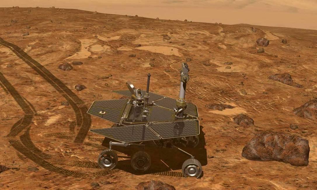 Ilustração mostra o veículo-robô Opprtunity explorando a superfície de Marte: missão superou em muito previsão inicial de apenas 90 dias Foto: / Nasa