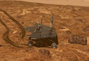 Ilustração mostra o veículo-robô Opprtunity explorando a superfície de Marte: missão superou em muito previsão inicial de apenas 90 dias Foto: Nasa