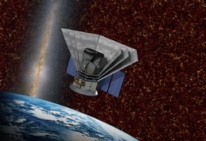 Ilustração mostra como deverá ser o Spherex em órbita da Terra, tendo ao fundo imagem de observações da radiação nos primórdios do Universo e da Via Láctea em luz visível Foto: Caltech