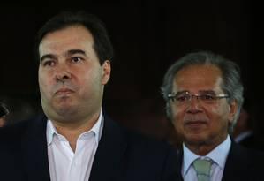 O presidente da Câmara, Rodrigo Maia e o ministro da Economia, Paulo Guedes Foto: Jorge William/Agência O Globo/05-05-2019
