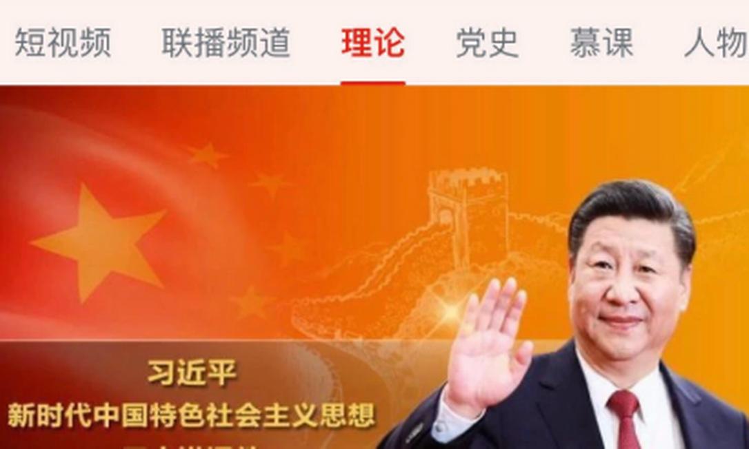 Xi Jinping em tela do app: quizzes, mensagens no estilo Snapchat e notícias do Partido Foto: Reprodução/App Store