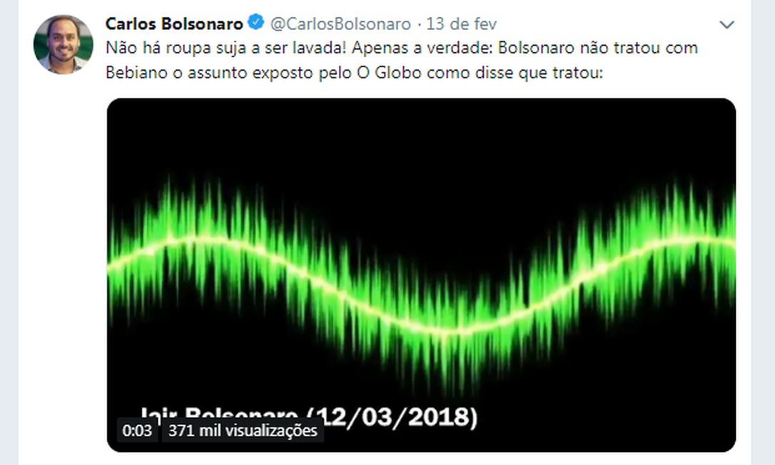 O vereador Carlos Bolsonaro (PSC-RJ) desmentiu nas redes sociais o ministro Gustavo Bebianno, da Secretaria-Geral da Presidência. Bebianno havia negado que era o centro de uma crise no Executivo e afirmou ter conversado, por mensagens, três vezes com o presidente. Carlos disse que o ministro mentia e divulgou uma gravação do presidente em que Bolsonaro afirma que não iria falar sobre o caso com Bebianno. Foto: Reprodução