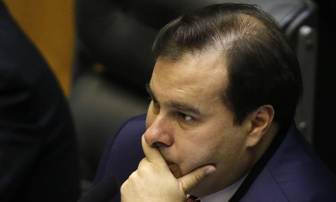 O presidente da Câmara, Rodrigo Maia, preside sessão no plenário da Câmara Foto: Jorge William / Agência O Globo