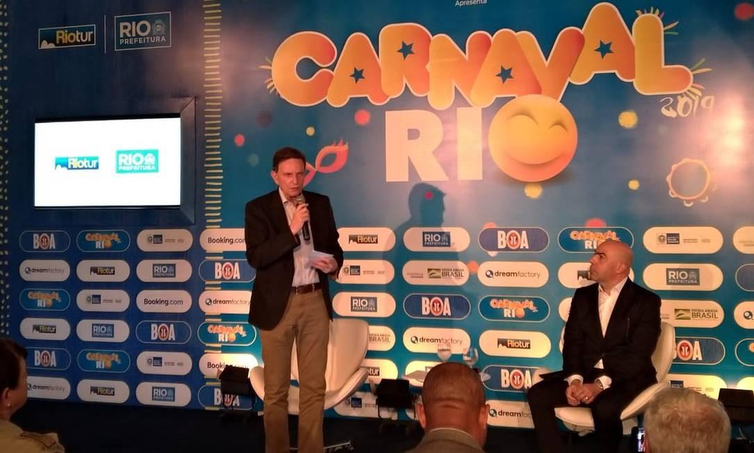 Crivella: 'No futuro, o carnaval será orgulhoso de dizer que não depende de tanto dinheiro da prefeitura' Foto: Divulgação Prefeitura do Rio