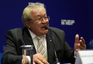 Ex-presidente do Inep, Marcus Vinícius Rodrigues, durante entrevista coletiva Foto: Andre Sousa/MEC/31-01-2019