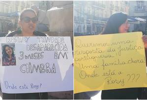 'Queremos uma resposta da Justiça portuguesa', diz um dos cartazes Foto: Facebook/Reprodução