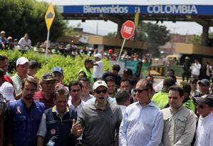 Senador americano Marco Rubio discursa durante visita a Cúcuta, na fronteira com a Venezuela Foto: LUISA GONZALEZ / REUTERS
