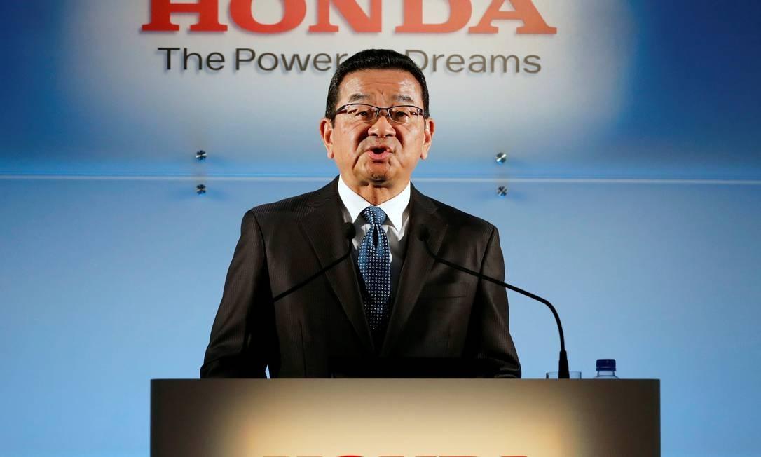 O presidente-executivo da Honda, Takahiro Hachigo, fala em coletiva de imprensa em Tóquio, Japão Foto: KIM KYUNG-HOON / REUTERS
