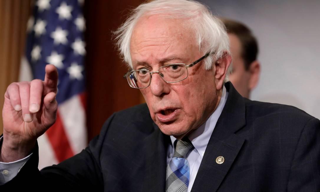 Senador Bernie Sanders discursa durante conferência sobre o Iêmen no Capitólio Foto: Yuri Gripas 30-01-2019 / REUTERS
