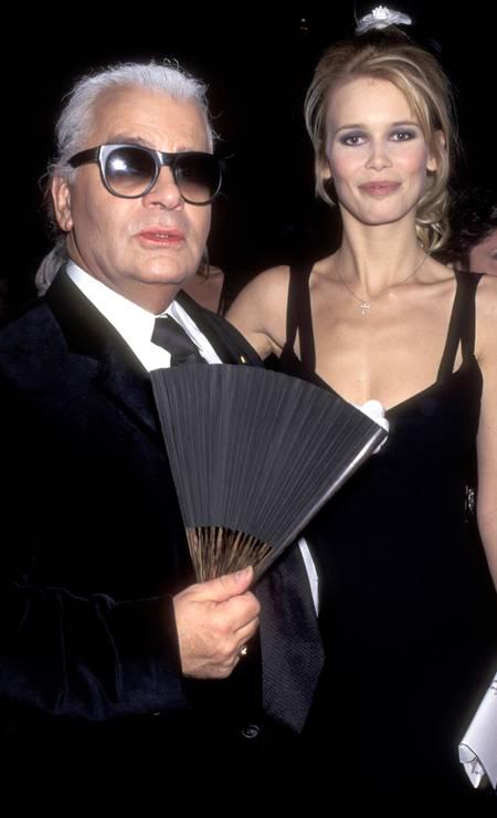 No Met Gala de 1995, com a supermodelo alemã Claudia Schiffer Foto: Ron Galella / WireImage
