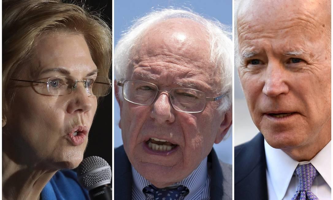Montagem coloca lado a lado Elizabeth Warren, Bernie Sanders e Joe Biden Foto: AFP E REUTERS