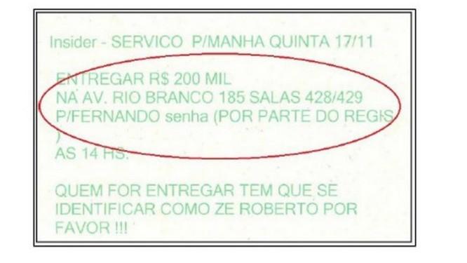 Um dos documentos da Trans-Expert que estavam armazenados no depósito tem nome do homem de confiança de Régis Fichtner Foto: Reprodução