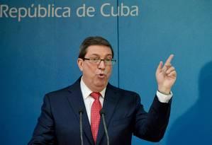 O ministro das Relações Exteriores de Cuba, Bruno Rodriguez, rebate as acusações do presidente dos EUA, Donald Trump, de que seu país mantém um 'exército privado' na Venezuela Foto: AFP/YAMIL LAGE