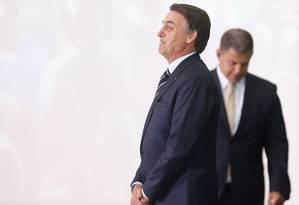 O presidente Jair Bolsonaro e o ex-ministro Gustavo Bebianno02/01/2019 Foto: ADRIANO MACHADO / REUTERS