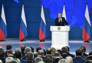 Presidente russo, Vladimir Putin faz discurso anual no Parlamento, em Moscou Foto: SPUTNIK 20-02-2019 / REUTERS