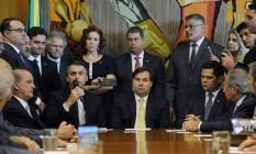 O presidente Jair Bolsonaro em encontro com parlamentares na entrega da reforma da Previdência ao Congresso Foto: Luis Macedo / Câmara/Divulgação