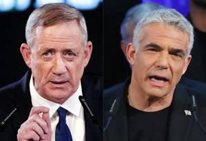 Novos aliados: ex-chefe de gabinete de Israel Benny Gantz e líder opositor Yair Lapid se únem em disputa para premier Foto: Thomas COEX 29-01-2019 / JACK GUEZ 18-02-2019 / AFP