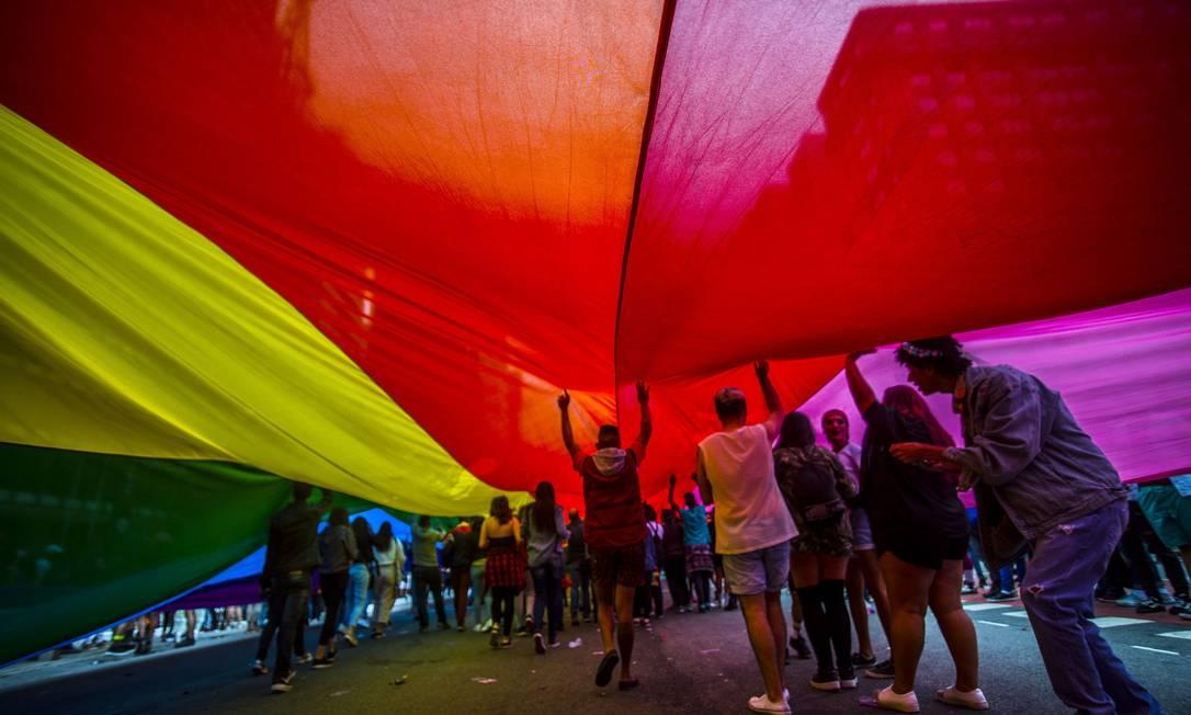 22ª Parada do orgulho LGBT na Avenida Paulista, em 2018 Foto: Cris Faga/NurPhoto / NurPhoto via Getty Images