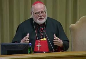 Cardeal Reinhard Marx durante a reunião no Vaticano Foto: REUTERS TV / REUTERS