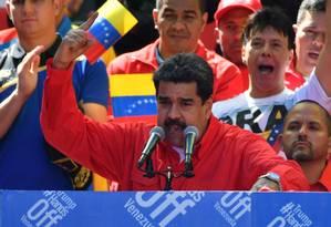 Maduro discurso para apoiadores do governo em Caracas Foto: YURI CORTEZ / AFP