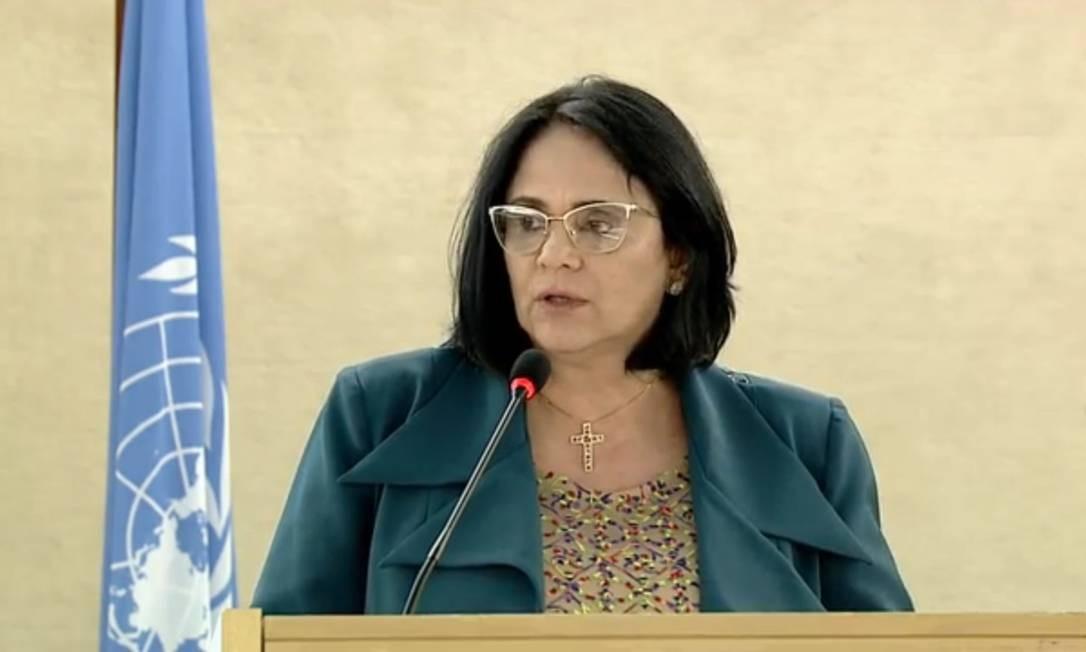 Ministra Damares Alves durante discurso na Comissão de Direitos Humanos da ONU, na manhã desta segunda-feira Foto: Reprodução da internet