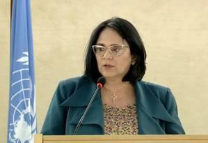 Ministra Damares Alves durante discurso na Comissão de Direitos Humanos da ONU Foto: Reprodução da internet