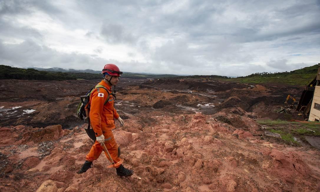 Buscas continuam após um mês da tragédia em Brumadinho Foto: Alexandre Cassiano / Agência O Globo