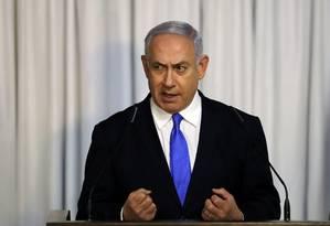 Premier de Israel, Benjamin Netanyahu, em Tel Aviv Foto: AMMAR AWAD / REUTERS/21-02-2019
