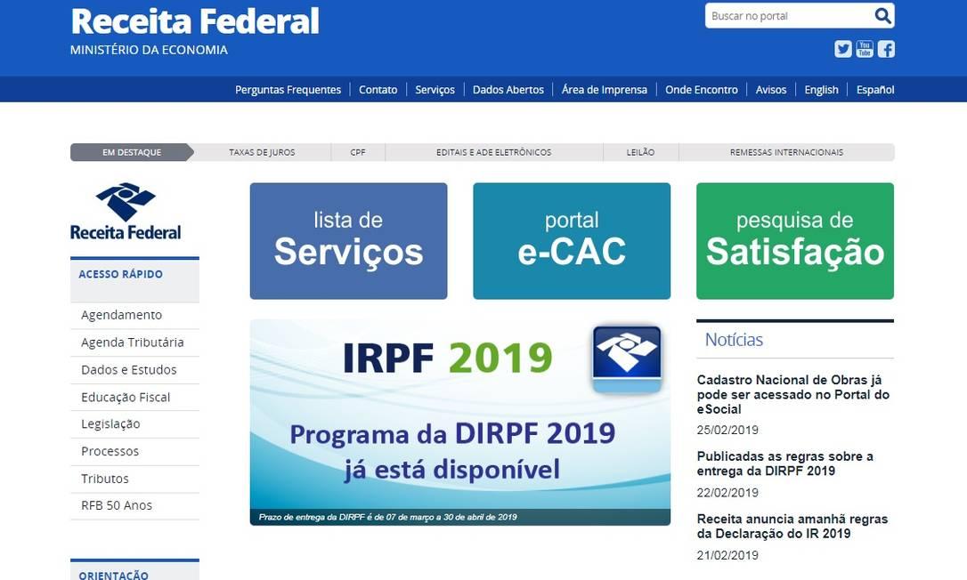 Receita liberou o programa para o IR 2019 Foto: Reprodução/Internet