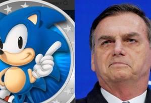 Sonic e Jair Bolsonaro: presidente usou trilha sonora de game de 2006 em vídeo Foto: Reprodução/Twitter e REUTERS/Arnd Wiegmann/File Photo