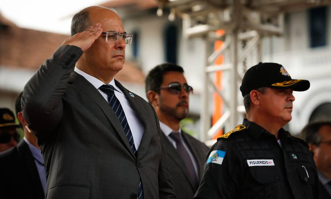 O Governador Wilson Witzel participa de uma cerimonia de entrega de viaturas para a Policia Militar no Batalhão de Choque Foto: Pablo Jacob / Agência O Globo