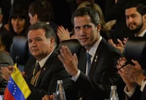 Líder opositor venezuelano, Juan Guaidó durante reunião do Grupo de Lima em Bogotá Foto: DIANA SANCHEZ 25-02-2019 / AFP