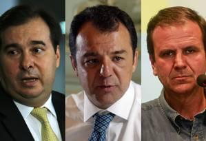 O presidente da Câmara, Rodrigo Maia (DEM-RJ); o ex-governador do Rio, Sérgio Cabral (MDB-RJ) e o ex-prefeito do Rio, Eduardo Paes (DEM-RJ) Foto: Arquivo / Agência O Globo