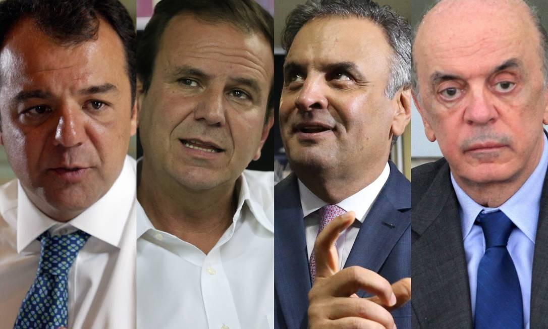 Sérgio Cabral (MDB-RJ), Eduardo Paes (DEM-RJ), Aécio Neves (PSDB-MG) e José Serra (PSDB-SP) foram citados em delação da OAS, assim como outros 17 políticos Foto: Arquivo / O Globo