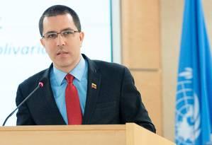 Chanceler venezuelano, Jorge Arreaza discursa no Conselho de Direitos Humanos da ONU, em Genebra Foto: Jean Marc Ferre/ONU 27-02-2019 / REUTERS