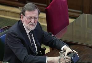 O ex-primeiro-ministro da Espanha Mariano Rajoy testemunha na Suprema Corte no julgamento de 12 líderes separatistas catalães: nenhum governante de qualquer país aceitaria secessão, afirmou Foto: REUTERS